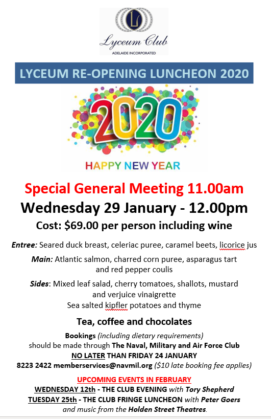 Lyceum Re opening Lunch JAN 2020